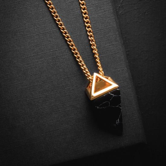24KT Gold Plated Gemstone Necklace - Black Stone
