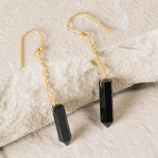 Black Onyx Earrings - Fine wire hook and chain earring featuring a natural and uniquely cut Black Onyx stone raw pendant. Finely handcrafted brass, plated with the finest 18K rose gold, and gold plating.