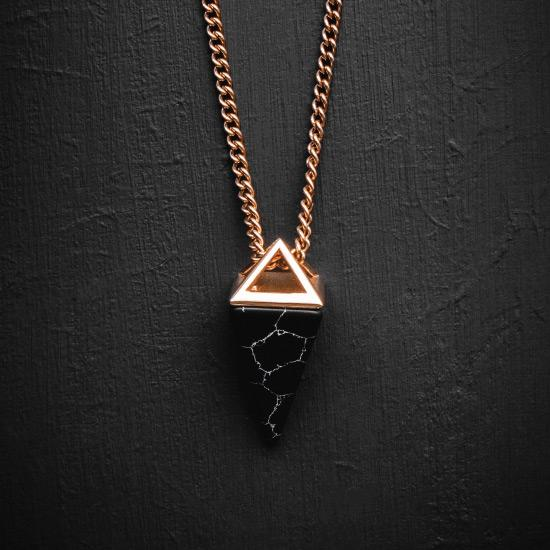 Gemstone Necklace - This Gemstone Necklace has been Crafted Using a Black Gemstone featuring a Polished Rose Gold Finish and Rose Gold Chain.