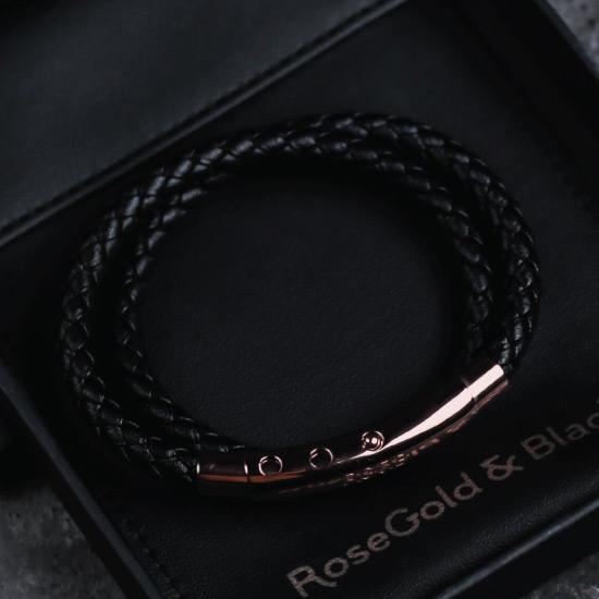 Woven Adjustable Double - RoseGold & Black