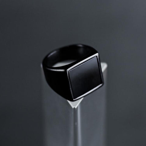 Black Signet Ring - Black & Black