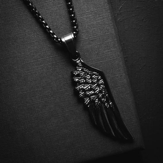 Black Wing Necklace - Our Black Wing Necklace features our Signature All Black Wing Pendant and a Black Box Chain. The Perfect statement piece for any wardrobe.