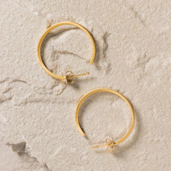 Gold Hoop Earrings - Fine handcrafted hoop plated with the finest 18K gold plating. Each hoop is hand brushed to create the perfect brush finish.