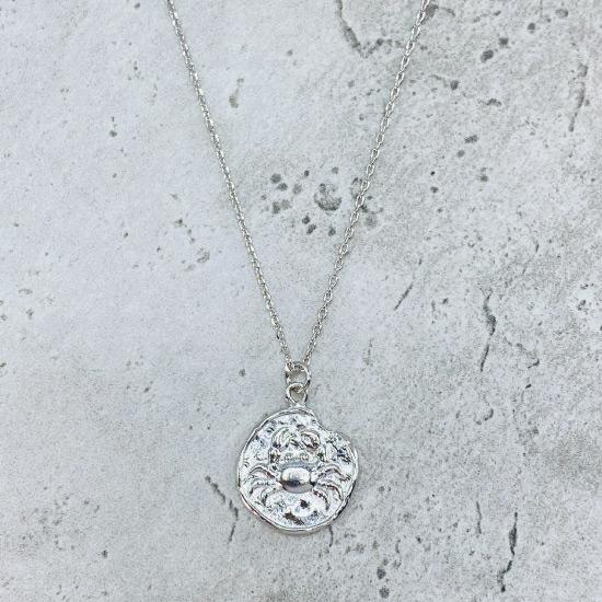 Rhodium Star Sign Coin Necklace - Cancer