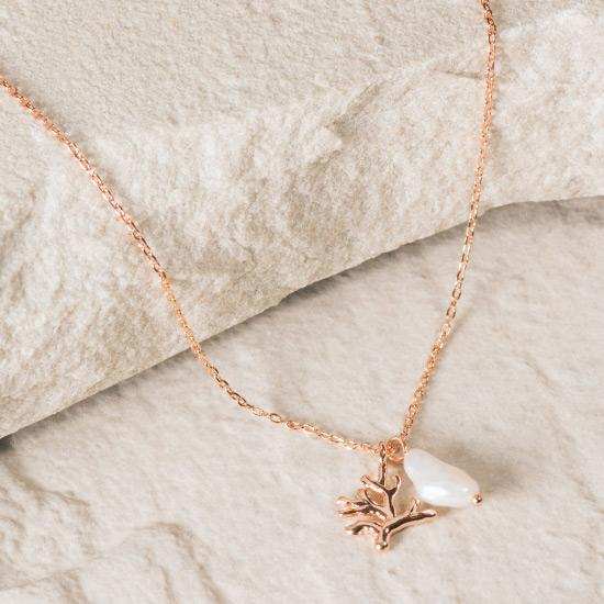 Coral and Rough Pearl Necklace - RoseGold