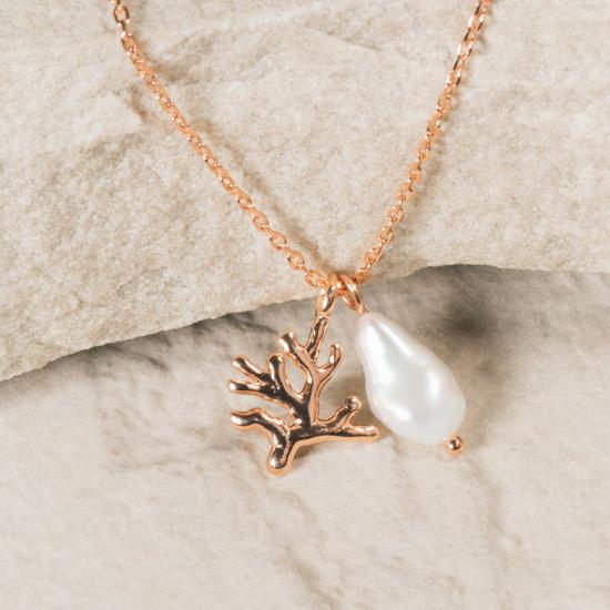 Rose Gold Pearl Necklace - Fine chain necklace featuring a uniquely molded coral pendant and rough pearl pendant. Fine brass, plated with rose gold.