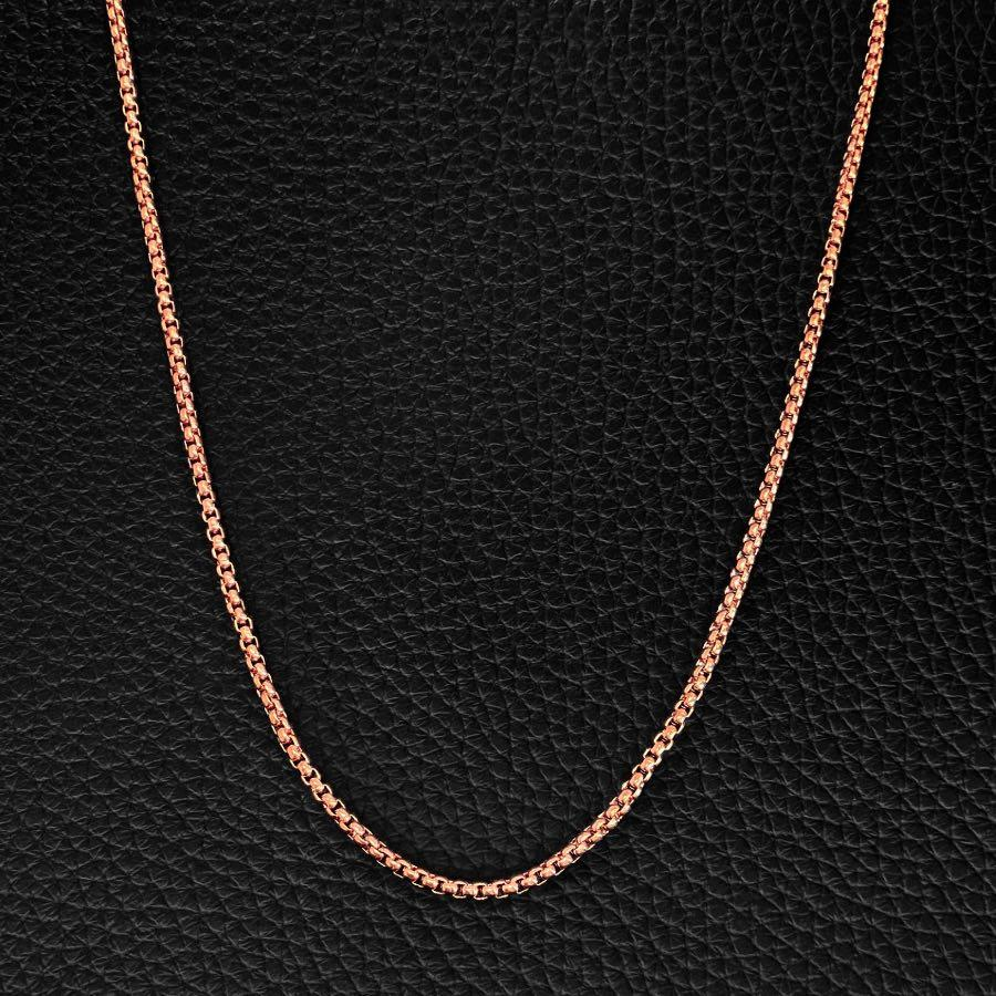 Rose Gold Chain - Our Rose Gold Box Chain Features our Premium Box Chain and Signature Polished Rose Gold plate, Engraved with RG&B.