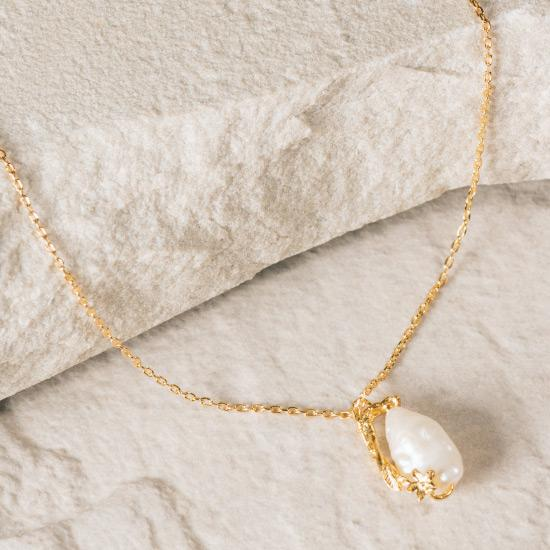 Asymmetric Rough Pearl Necklace - Gold