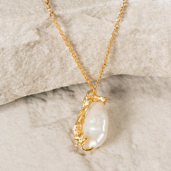 Women's Pearl Necklace - Fine gold chain necklace featuring a uniquely molded gold Flower combined with a precious rough pearl to form a timelessly beautiful pendant.