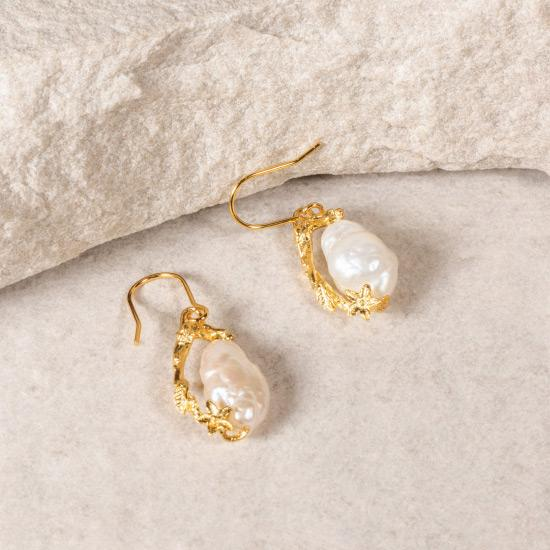 Asymmetric Rough Pearl Earring - Gold