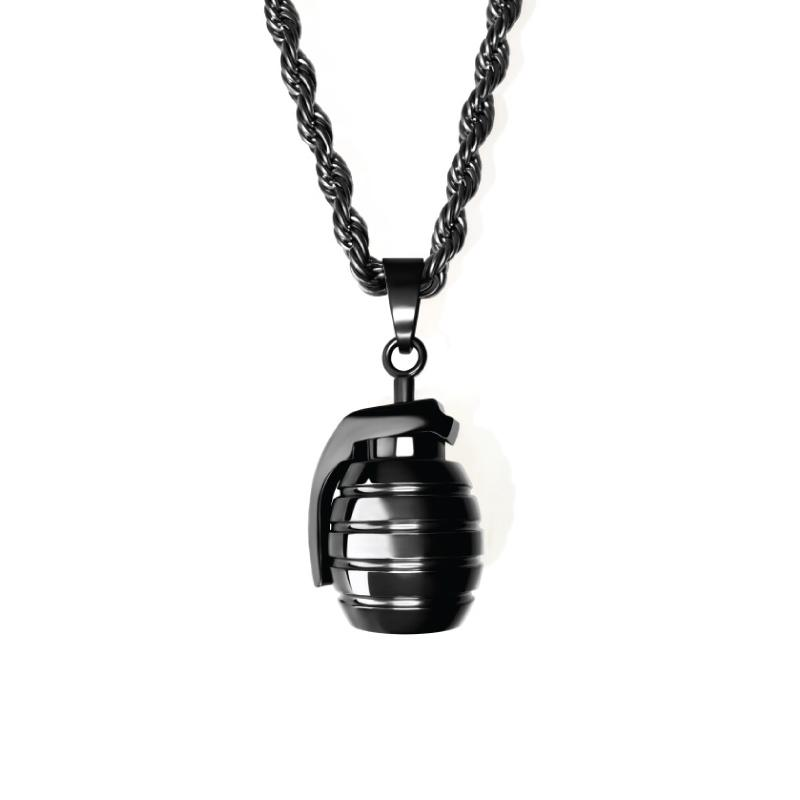 Stainless Steel Black IP Grenade Necklace 16 Inch Jewelry Gifts for Women
