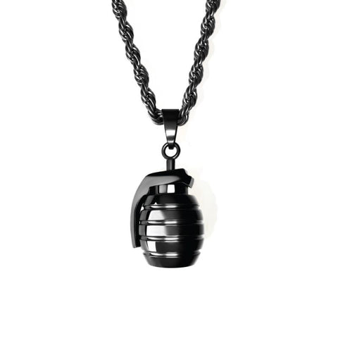Grenade Necklace - All Black