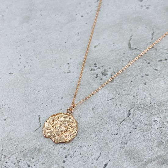 Rose Gold Star Sign Coin Necklace - Gemini