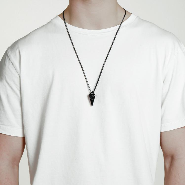 Black Gemstone Necklace - This Gemstone Necklace has been Crafted Using a Black Gemstone featuring a Polished Black Finish and Black Chain.