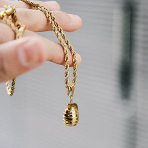 Grenade Necklace - 24KT Gold Plated