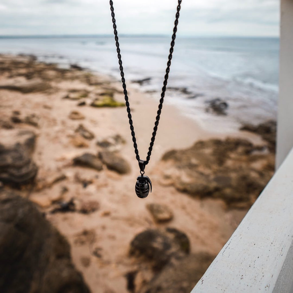 Grenade Necklace in All Black - Our Signature Grenade Necklace in All Black. Featuring a Grenade Pendant and Rope Chain in all Black.