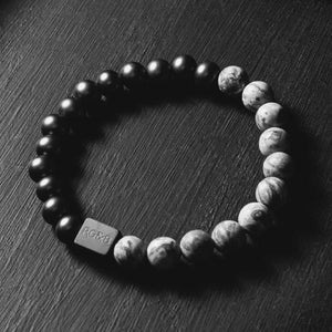 Black Collection - Grey Jasper Stone Bead Bracelet