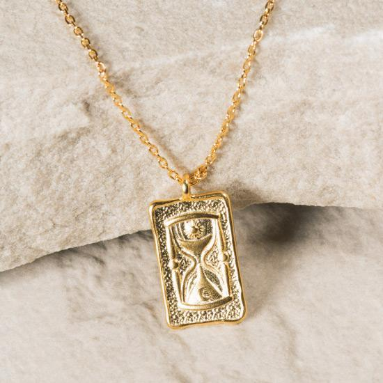 Hourglass Mini Tag Necklace - Gold