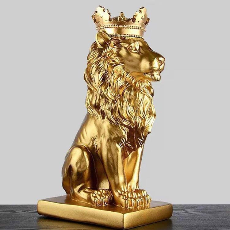 Gold Lion Sculpture - Our Gold Lion With Crown Sculpture is the perfect addition to any space. Made-to-order pieces are also available.