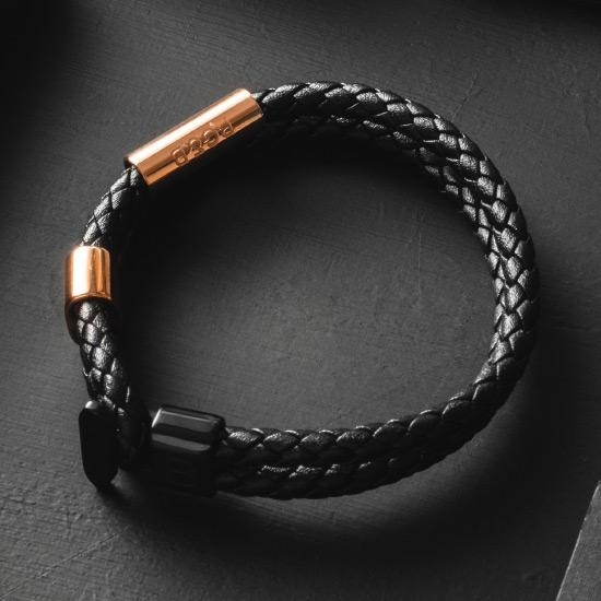 Limited Edition Bracelet - Our Limited Edition Bracelet in Rose Gold & Black Features a Woven Leather Bracelet with Polished Rose Gold & Black Hardware and our Signature RG&B Logo.