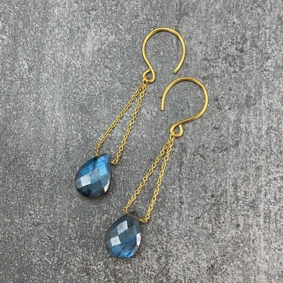 Labradorite Earrings - Fine wire hook and chain earring featuring a natural and uniquely cut Labradorite stone. Finely handcrafted brass, plated with the finest 18K gold plating.