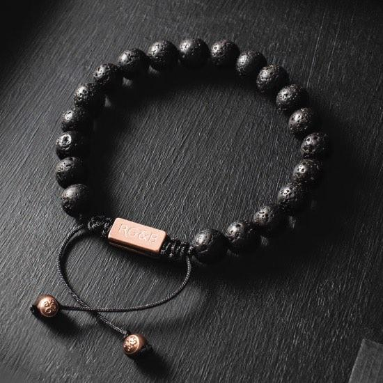 Lava Stone Bead Bracelet - Our Lava Stone Bead Bracelet Features Natural Stones, Waxed Cord and Brushed Rose Gold Steel Hardware, Engraved with the Signature RG&B Logo.