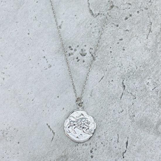 Rhodium Star Sign Coin Necklace - Leo