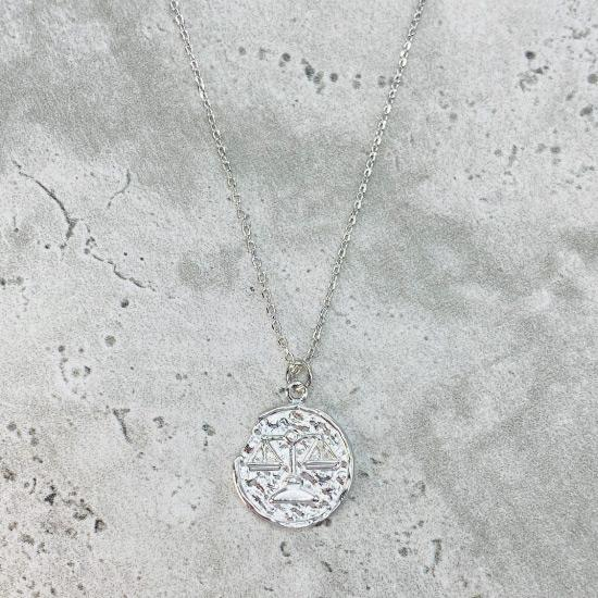 Rhodium Star Sign Coin Necklace - Libra