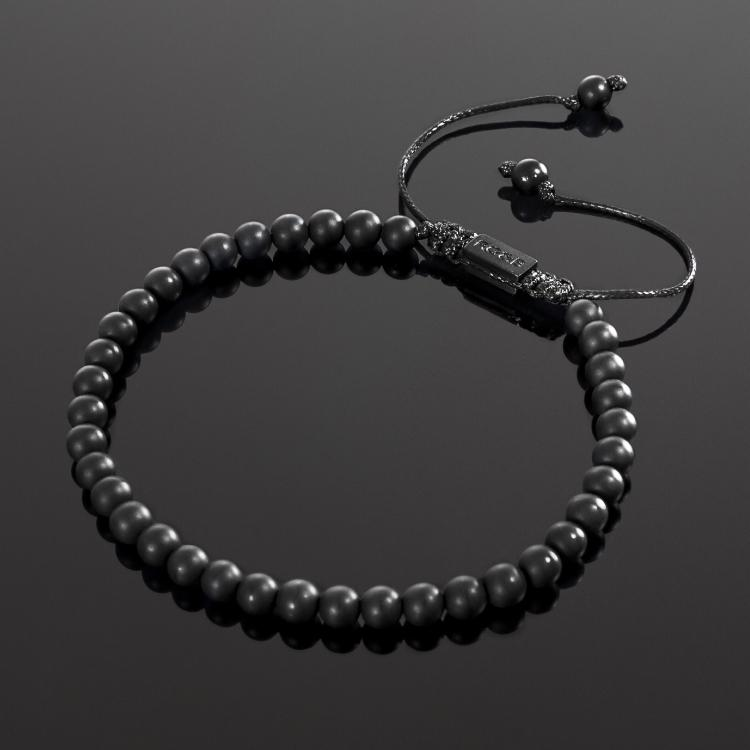 Our Matte Agate Bead Bracelet Features Natural Stones, Waxed Cord and Brushed Black Steel Hardware. A Beautiful Addition to any Collection.