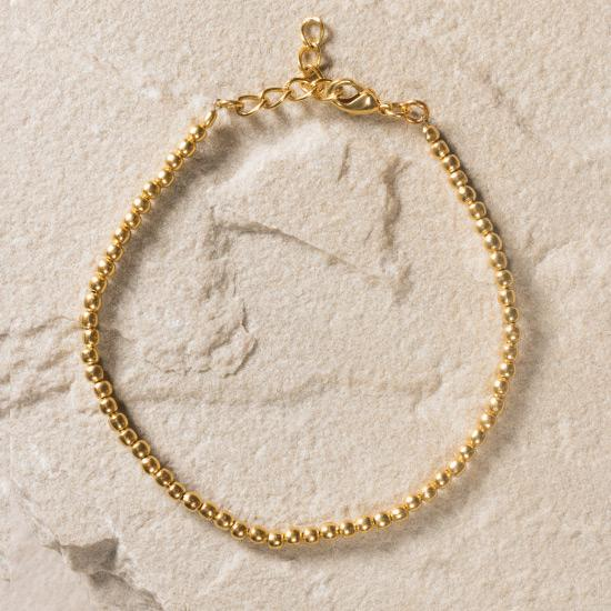 Gold Micro Bead Bracelet - Finely handcrafted micro beads, fashioned and shaped by hand to create a minimal unique staple piece to any outfit, essential bracelet to add to any jewelry collection.