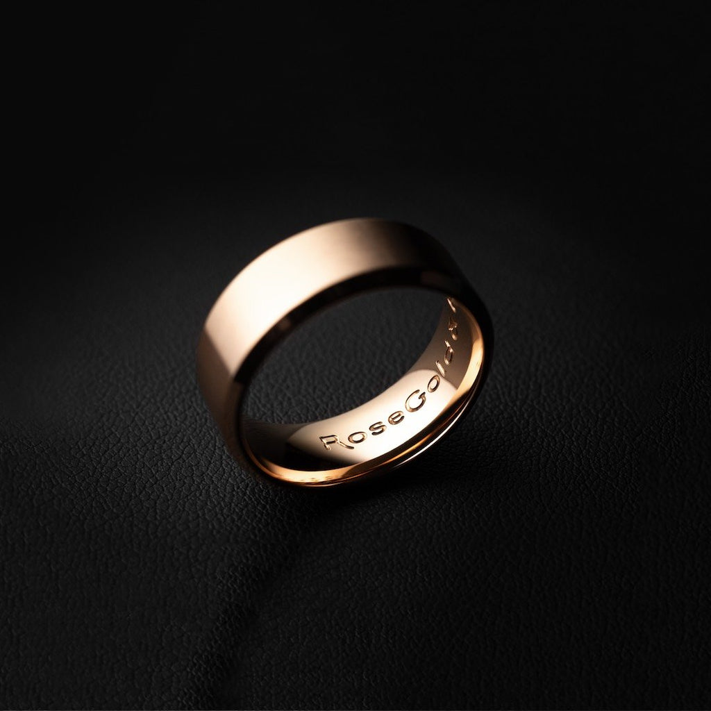 RoseGold and Black Minimal Ring in Brushed Rose Gold