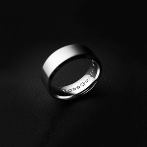 RoseGold and Black Minimal Ring in Brushed Silver