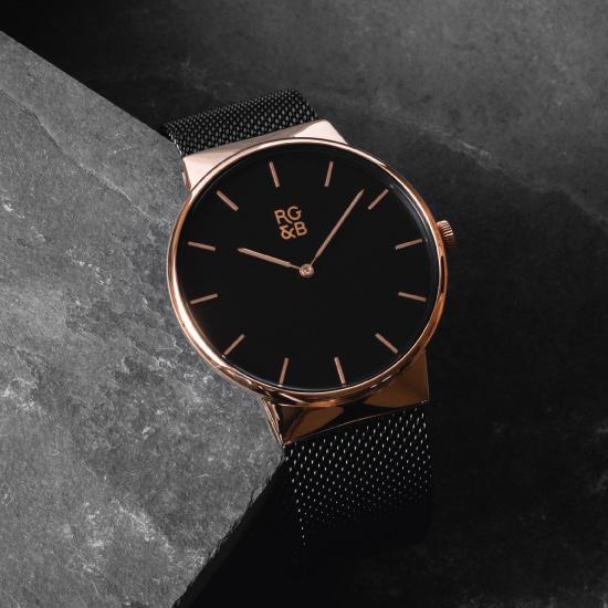 Minimal Rose Gold & Black Watch - Our Minimal Rose Gold & Black Watch features a Polished Rose Gold Case, Black Dial & Strap, Rose Gold Hands and Hour Markers Along with our Signature Logo.