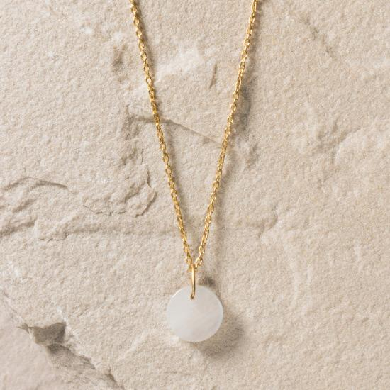 Rainbow Moonstone Necklace - Fine handcrafted chain necklace featuring a circular-cut natural rainbow moonstone to form a timelessly beautiful pendant. Fine handcrafted brass, plated with the finest 18K gold plating.