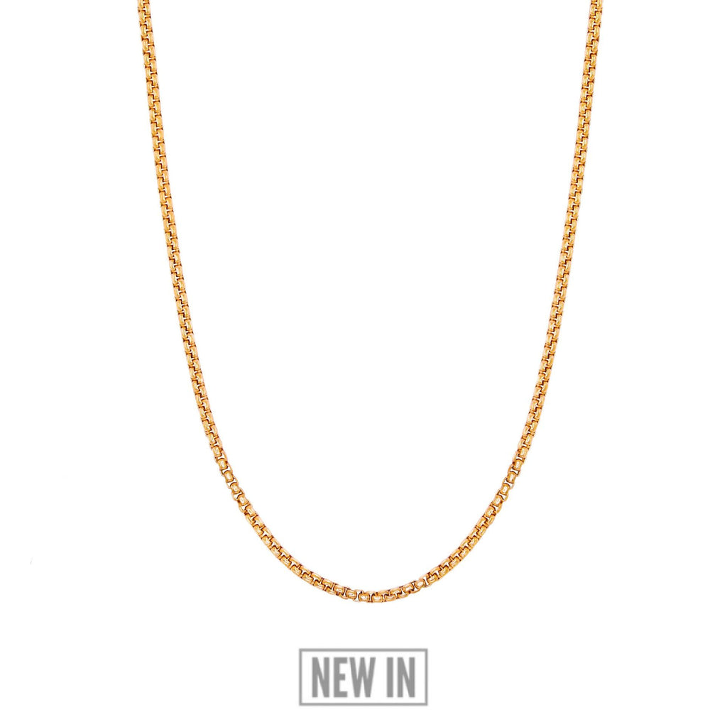 Gold Box Chain - Our 24KT Gold Plated Box Chain Features our Signature Box Chain and RG&B Logo. The Perfect Gold Piece for any wardrobe.