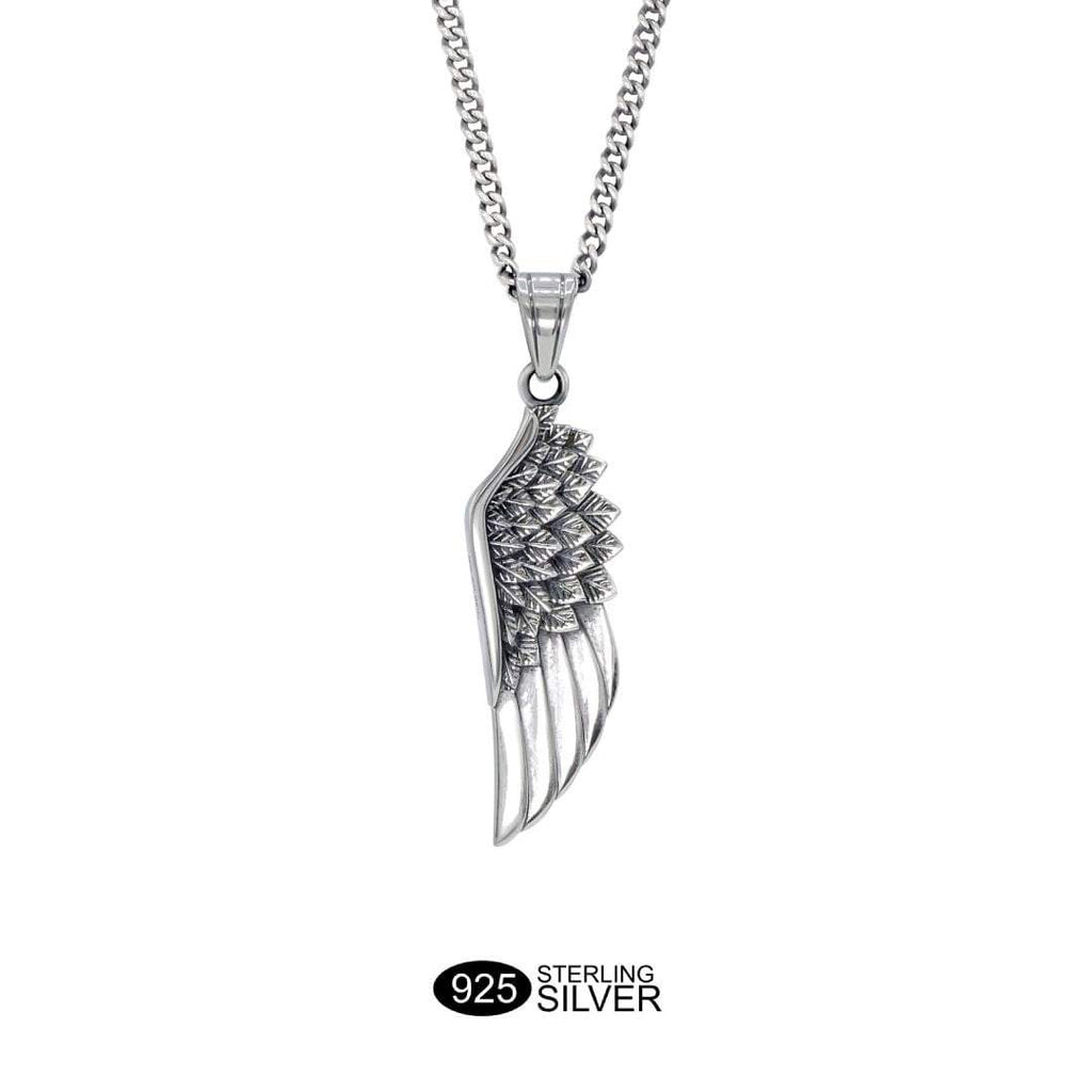 Silver Wing Necklace - Our Premium Solid 925 Sterling Silver Wing Necklace features our Signature Solid 925 Sterling Silver Wing Pendant and a Solid 925 Sterling Silver Cuban Chain.