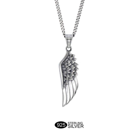 Wing Necklace - Solid Oxidised Silver
