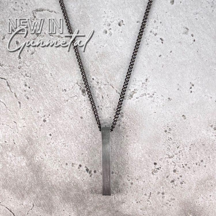 Minimal Bar Necklace - Gunmetal