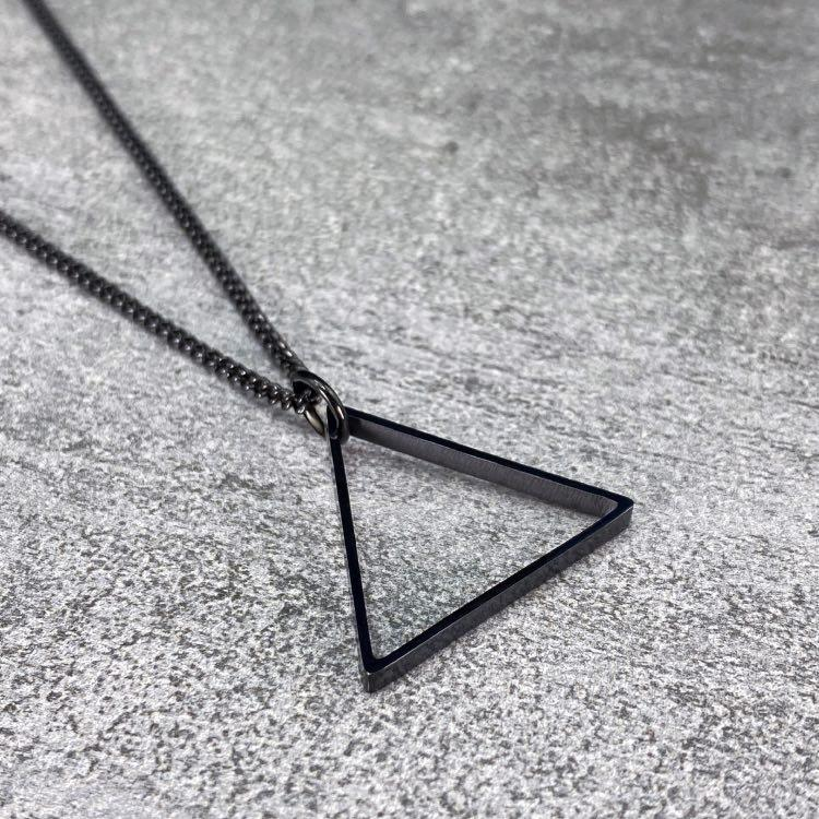 Black Triangle Necklace - Our Black Triangle Necklace features our Signature Triangle Pendant and Cuban Link Chain. The Perfect piece for any wardrobe.