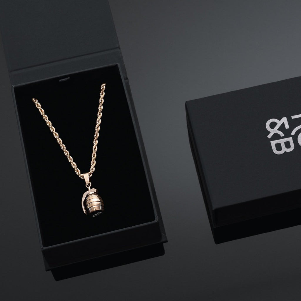 Grenade Necklace in Rose Gold - Our Rose Gold Grenade Necklace features our Signature Grenade Pendant and Box Chain. The Perfect statement piece for any wardrobe.