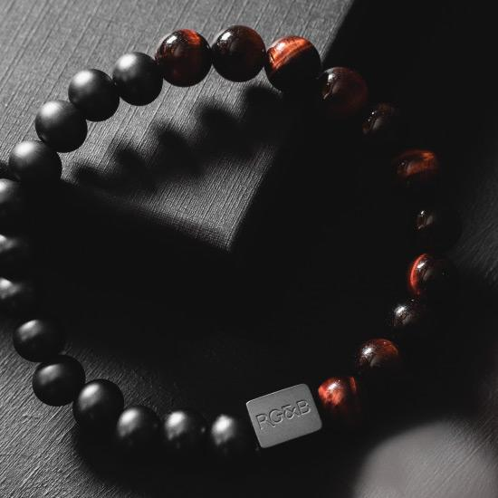 Black Collection - Red Tiger Eye Bead Bracelet