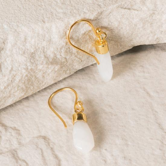 Rainbow Moonstone Earrings - Fine wire hook earring featuring a natural and uniquely cut Rainbow Moonstone stone raw pendant. Finely handcrafted brass, plated with the finest 18K gold plating.