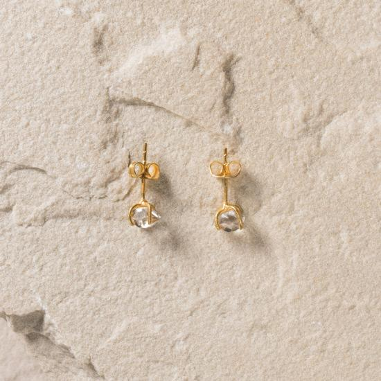 Herkimer Diamond Earrings - Fine handmade stud crafted around a raw Herkimer Diamond. Each Herkimer Diamond is left in its natural raw state with their own unique shape. Finely handcrafted brass, plated with the finest 18K gold plating.