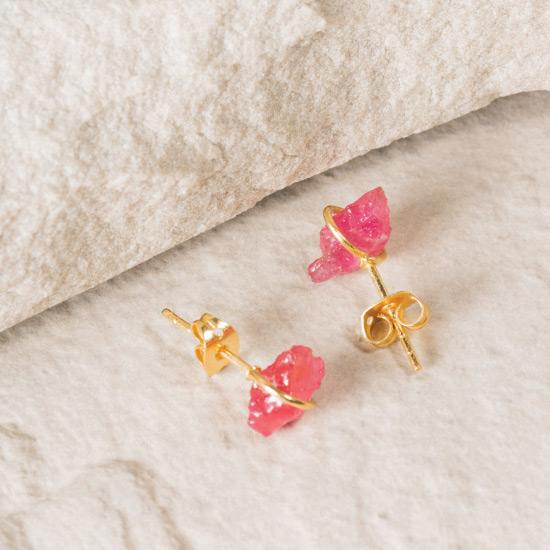 Ruby Earrings - Fine handmade stud crafted around a raw Ruby. Each Ruby is left in its natural raw state with their own unique shape. Finely handcrafted brass, plated with the finest 18K gold plating.