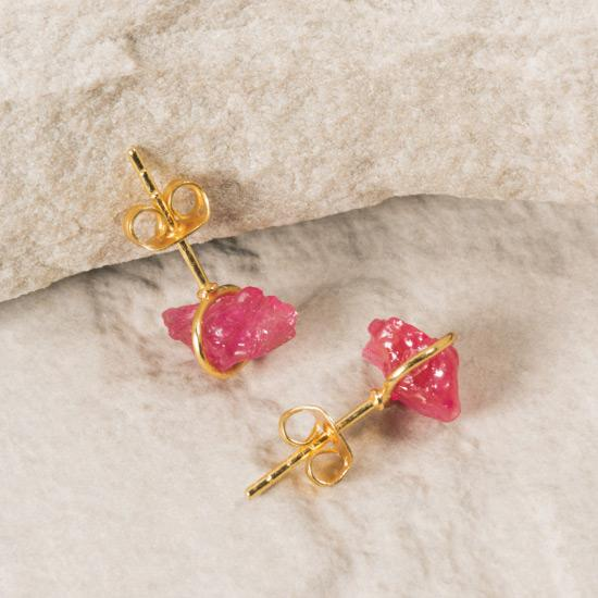 Raw Ruby Studs - Gold