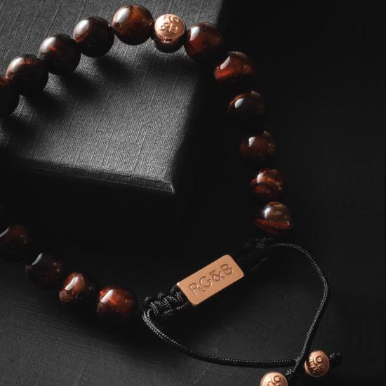 Red Tiger Eye Bead Bracelet - Premium