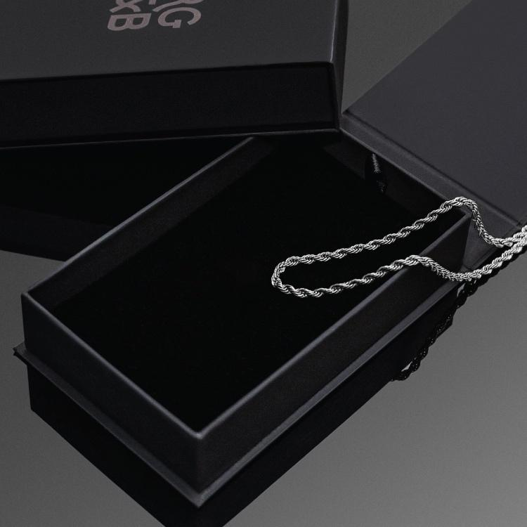 Our Silver Rope Chain Necklace features our premium silver rope chain and signature polished Silver clasp, engraved with RG&B.