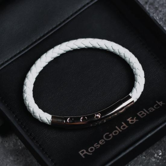 White Leather Bracelet - Our White Leather Bracelet features a White Leather Bracelet and an Adjustable Stainless Steel Clasp Engraved with our Signature RG&B Logo.