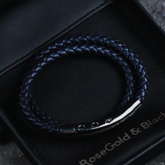 Double Leather Bracelet in Silver & Navy - Our Men's Double Leather Bracelet with Navy Leather and a Polished Silver Adjustable Clasp Engraved with our Signature RG&B Logo.