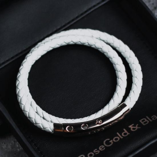 White Double Leather Bracelet - Our Men's Double Leather Bracelet with White Leather and a Polished Rose Gold Adjustable Clasp Engraved with our Signature RG&B Logo.